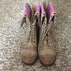 Just Fab Combat Boots- woman's size 9 Just Fab Combat Boots- Woman's Size 9. Worn a few times, tops and insides are in great shape. JustFab Shoes Combat & Moto Boots