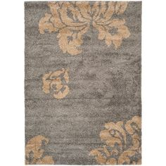 Florida Shag Grey and Beige Rectangle: 5 Ft. 3 In. x 7 Ft. 6 In. Area Rug
