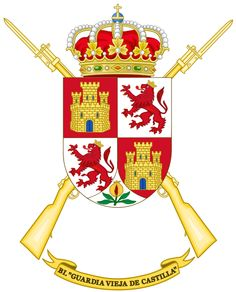 Coat of Arms of the Infantry Battalion Guardia Vieja de Castilla. Coat Of Arms, Army, Flag, Symbols, Messi, Badges, Coats, Flags, Maps