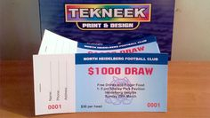 Raffle tickets printed by Tekneek Print and Design.