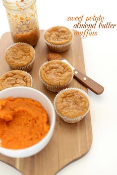 SUPER MOIST and YUMMY Sweet Potato Almond Butter Snack Muffins: I used sprouted wheat and these turned out great! Good flavor combination with the almond butter on top! Baker Recipes, Muffin Recipes, Cooking Recipes, Cooking Tips, Vegan Recipes, Vegan Sweets, Vegan Desserts, Dessert Recipes, Health Desserts