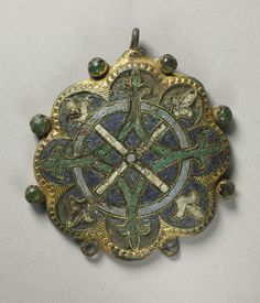 France. Pendant, 1200s.  Gothic period, 13th century. Gilded copper, champlevé enamel. Dimensions: Overall: 10.20 x 8.95 cm (4 x 3 1/2 inches).