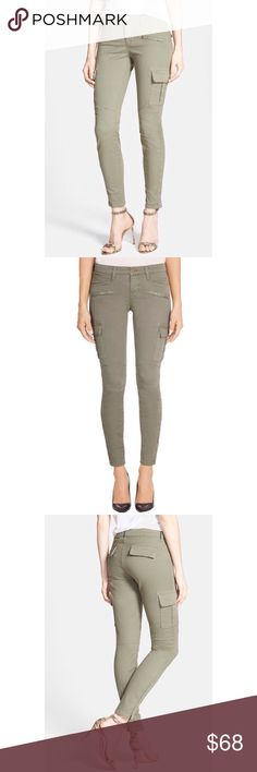 J Brand Grayson Skinny Cargo Pants J Brand Grayson Skinny Cargo Pant in 'garrison' (a lighter green/taupe). Stylish with just a little edge. Zipper at the ankle, mid-rise. Gently used but zero flaws. J Brand Pants