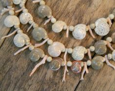 Shell & Coral Fringe Necklace pink cream beige neutral 3 triple strand seashell beach beachy jewelry bridal bride wedding Sass and Wiggle