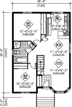 European House Plan 49554 Level One