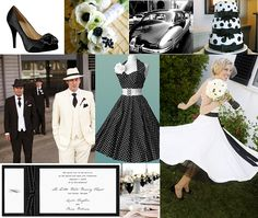 Black and White :: Pinstripes and Polka Dots Wedding Inspiration