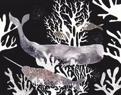 Two Whales and Coral  Archival Print by unitedthread on Etsy, $20.00
