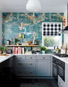 Fairytale-like Zoffany wallpaper steals the show in this Ikea kitchen makeover. Ikea Kitchen, Kitchen Decor, Funky Kitchen, Eclectic Kitchen, Whimsical Kitchen, Eclectic Style, Kitchen Wall Paper Ideas, Colorful Kitchen Cabinets, Kitchen Yellow