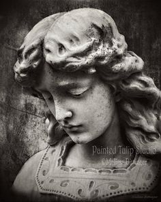 Guardian Angel Gothic Cemetery Black and by PaintedTulipStudio