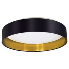 Eglo Maserlo 1 LED Light Flush Mount In Black and Gold With White Plastic Glass And Black-Gold Fabric Shade