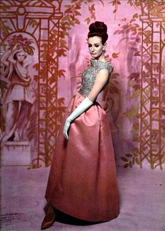Givenchy's rose silk faille evening gown with embroidered top of blue and rose paillettes, photo by Roland de Vassal, L'Officiel 1962
