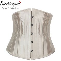 Burvogue Woman Waist Cincher Corselet Body Shaper Sexy Waist Control underbust Corsets  Bustiers Black Satin Steel Bone Corset Like and Share if you agree! Visit our store