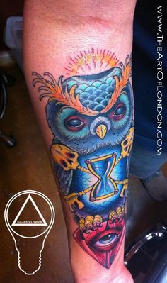 Tattoos - London Reese - Gnarly Owl Diamond Tattoo