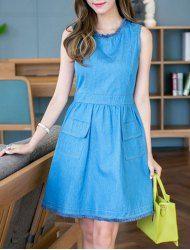 7914ab4b5c7 Chic Round Neck Sleeveless Pocket Design Denim Dress For Women