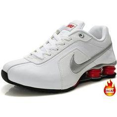 http://www.asneakers4u.com Mens Nike Shox R4 White Silver Red Black