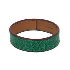 29960 auth HERMES emerald green CROCODILE leather Bangle Bracelet Cuff