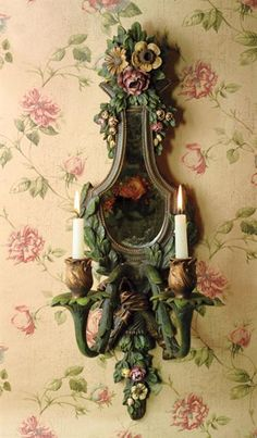 thorntree castle mirrored wall sconce via Victorian Trading Rose Cottage, Cottage Style, Bougie Candle, Mirrors And Chandeliers, Home And Deco, Bath Design, Vintage Lighting, Victorian Homes, Wall Sconces