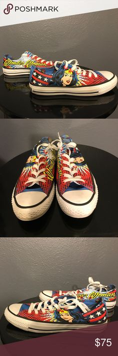 Rare Wonder Woman Converse Super rare Wonder Women converse. Only worn twice, extra pair of yellow laces included! Converse Shoes Athletic Shoes