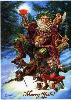 The Pagan celebration of Winter Solstice (also known as Yule) is one of the oldest winter celebrations in the world. Pagan Christmas, Father Christmas, Christmas Art, Vintage Christmas, Pagan Yule, Holly King, Polo Norte, Saint Nicolas, Winter Wonder