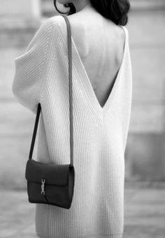 Deep v sweater dress