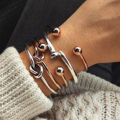 Rose Gold + Silver Cuff Bracelets Combo of 5