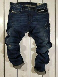 New Diesel Men's Jeans Tepphar Slim Carrot Stretch Blue Distressed Blue Jeans Outfit Men, Blue Jean Outfits, Khaki Jeans, Black Denim Jeans, Dark Jeans, Slim Jeans, Denim Man, Men's Jeans, Bleached Denim