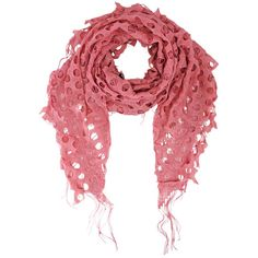 Salmon Pink Open Lace Net Fringed Shawl Scarf Wrap featuring polyvore, fashion, accessories, scarves, pink, pink shawl, triangle shawl, wrap shawl, evening shawl and evening wrap shawl