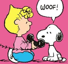 Sally holding phone receiver with Snoopy talking on a telephone art