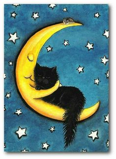Sweetest of Dreams Moon Hugging Black Cat- Fine Art Print by AmyLyn Bihrle adorables funny graciosos hermosos salvajes tatuajes animales Cool Cats, I Love Cats, Crazy Cat Lady, Crazy Cats, Black Cat Art, Black Cats, Black Cat Drawing, Image Chat, Here Kitty Kitty