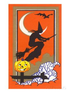 Witch Silhouette with Bat and Jack O'Lantern Print - AllPosters.ca