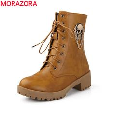 2017 new hot sale Autumn women cool boots Large size 34-40 skull street zip leisure round toe casual lace up ankle boots (32690856310)  SEE MORE  #SuperDeals