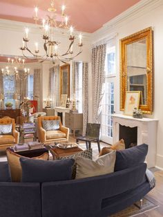 The restored living room of a historic Savannah, Georgia, home captures the elegance of days past