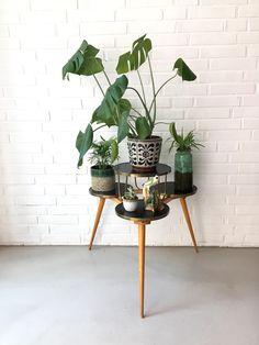 Vintage Pflanzenständer, Blumenbank mid century, Blumenhocker retro, Nierentisch, 50ziger Jahre Möbel , Vintage Beistelltisch von moovi auf Etsy