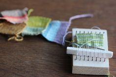 DIY little #weaving loom***GOOD WHEN TRAVELING,WAITING FOR APPT.S,& FOR PRACTISING,MAKING TINY PCS. & ADD TO M.M. FABRIC ART,ETC.