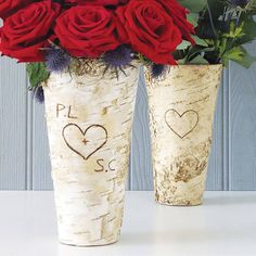 So beautiful. personalised rustic birch wood vase by the letteroom | notonthehighstreet.com