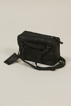 20711e8d976c FINAL SALE Square cross body bag with skinny adjustable strap. In black  metal supple leather