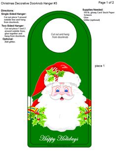 Doorknob Hangers, Paper Banners, Christmas Printables, Xmas, Christmas Ideas, Card Stock, Boxes, Paper Crafts, Templates