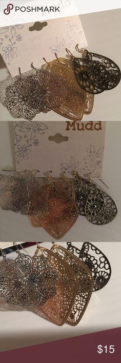 """MUDD"" Earring Set NEW, NEVER WORN! Silver, gold and an ""antique gold"" color. PERFECT CHRISTMAS 🎁!! Mudd Jewelry Earrings"