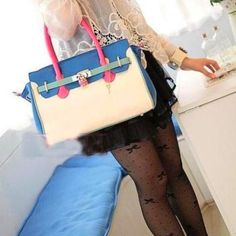 Color Block One Shoulder Tote Bag