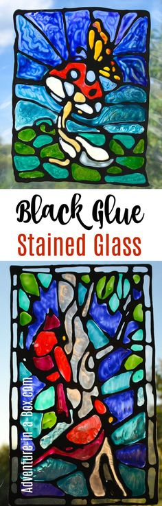 Make imitation stained glass with black glue! Try this unique craft technique with kids and create numerous window decorations and suncatchers. I've tried many different ways of making imitation stained glass. I have never tried the real thing, true, what