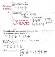 Operações com frações - Matemática básica. Pra quem tem dificuldade em matemática, provavelmente o p - resumenem Study Hard, Study Notes, Mathematics, Knowledge, Bullet Journal, Student, Math Equations, Education, Learning