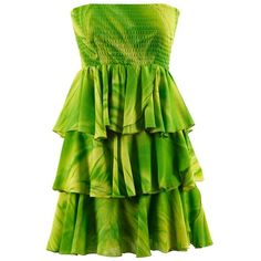 Lime Green Tie Dyed Strapless Ruffled Casual Summer Dress ($14) ❤ liked on Polyvore featuring dresses, lime green, green dress, tiered dress, tie-dye dress, green strapless dress and print dress