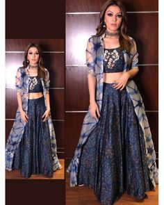 sky muslin silk digital printed bollywood style lehenga with koti bollywood style indowestern partywear lehenga with koti Indian Fashion Dresses, Indian Gowns Dresses, Dress Indian Style, Indian Designer Outfits, Indian Outfits, Designer Dresses, Indian Clothes, Long Gown Dress, Lehnga Dress