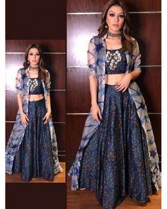 sky muslin silk digital printed bollywood style lehenga with koti bollywood style indowestern partywear lehenga with koti Indian Gowns Dresses, Indian Fashion Dresses, Dress Indian Style, Indian Designer Outfits, Indian Outfits, Designer Dresses, Fashion Outfits, Indian Clothes, Women's Fashion