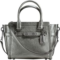 Coach Swagger 21 leather bag ($432) ❤ liked on Polyvore featuring bags, handbags, silver, leather handbags, coach shoulder bag, genuine leather purse, real leather purses and coach purses