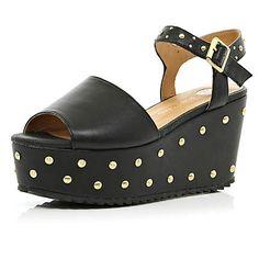 Black studded flatform sandals £45.00