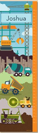 Let's Get to Work! Construction Vehicles Urban Hues Personalized Growth Chart by Petite Lemon Prints