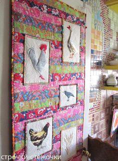 """строчки-стежочки : """"Птичий дворик"""" лоскутное панно с вышивкой."""
