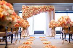 When selecting colors to match the decor for your ceremony, make sure that the colors of the floral design are identical to one another, whether if its where the bride and groom will be married, on the first seat of each aisle, or on the aisles floor as the bride and groom are walking towards their wedding officiant.