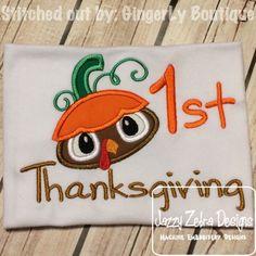 1st Thanksgiving Turkey Applique Design: Jazzy Zebra Designs